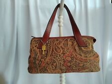 FOSSIL - Vintage Tapestry Brown Earth tones Satchel Handbag Purse Carpet Bag GUC