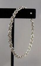 "Chain Bangle Bracelet Silver Tone Metal 1/8"" Wide New"