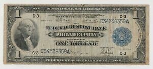 1918 Series Federal Reserve Bank Of Philadelphia $1 Note National Currency