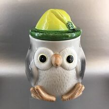 Vintage Cute Owl Pottery Cookie Jar Kitchen Canister Yellow Toque Winter MCM