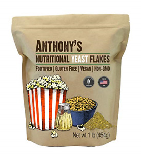 Anthony's Premium Nutritional Yeast Flakes, 1 lb, Fortified, Gluten Free, Non
