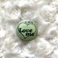Love Me Vintage Button Pin Back Lapel 80's Green Heart Rare Life Happiness HTF