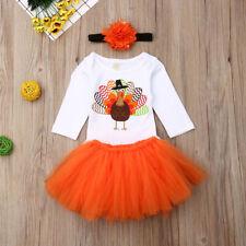NWT Thanksgiving Turkey Baby Girls Tutu Skirt & Headband Outfit Set
