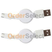2 USB Retract Micro Cable for Phone Samsung Rugby 4/LG G2 G3 G4 K3 K4 K7 K10 V10