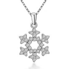 Noble Jewel Snow Flake Zirconia 925 Sterling Silver Pendant Chain Necklace