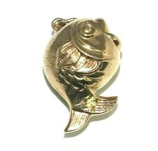 Ladies/womens 9ct yellow gold charm in the form of a round fish
