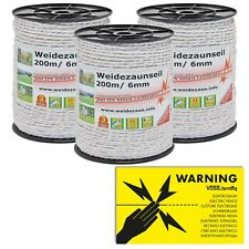 600m Electric Fence Rope D:6mm Steel-6x0,2mm White Poly Wire Cord