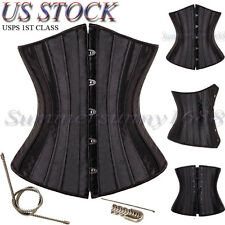 28 Spiral Steel boned Waist training Underbust Satin Corset Shapewear S-6XL SY