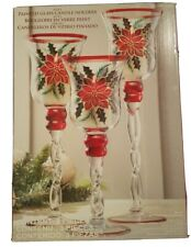 Set Of 3 Painted Glass Candle Holders Costco brand Christmas Poinsettias decor