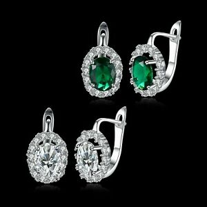 Elegant Hoop Earrings Platinum plated with Cubic Zirconia Casual or Party