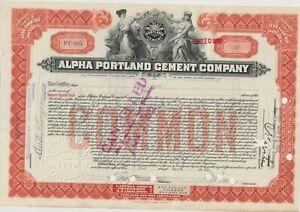 1922 Alpha Portland Cement Company Stock Certificate New Jersey