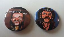 More details for motorhead set of two (2) metal button badges lemmy cartoon sketch