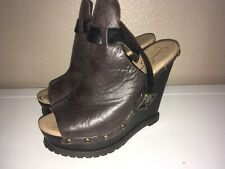 Jessica Simpson Brown Leather Wedge Slingback Heels Sandals size 7.5 no box