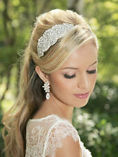 Pelo de la perla del rhinestone de cristal de novia Casco, Banda de Pelo Cristal Tiara Nupcial