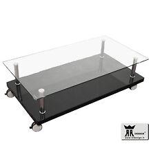 Tavolino RR design moderno salotto soggiorno legno laccato nero e vetro su ruote
