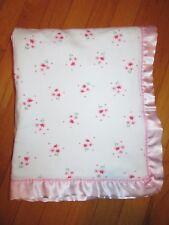 Carter's Pretty in Pink White Floral Blanket Pink Satin Back & Trim Corner Bow
