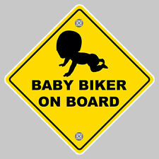 BABY BIKER ON BOARD SAFETY SIGN 12cm AUTOCOLLANT STICKER AUTO BA173
