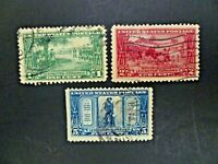 USA 1925 Complete Set of 3 From Lexington-Concord Issue Used - See Images