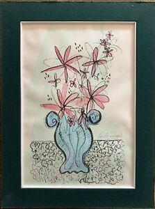 Dino La Bianca litografia colorata a mano Vaso di Fiori 50x35 firmata   rif 4737