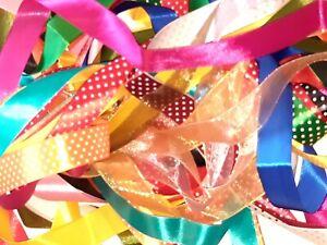 10 x 1Meter SATIN & ORGANZA mixed Ribbon offcuts Bundle Art & Crafts Baby Taggy