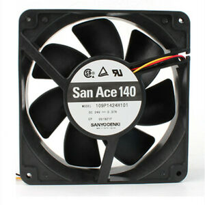 Sanyo 109P1424H101 14038 DC24V 0.37A three-wire speed measuring cooling fan