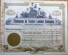 'Thompson & Tucker Lumber Company' 1919 Stock Certificate - Houston, Texas TX