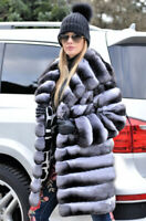 Women Chinchilla Coat Genuine Real Rex Rabbit Fur Jacket Overcoat Outwear Hooded