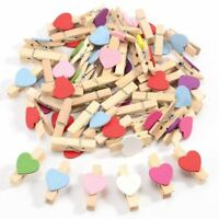 50pcs Mixed Colours Mini Wooden Peg Photo Paper Peg Craft Clips M7X4