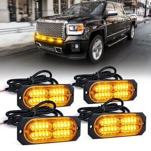 Xprite 4PCS LED Grille Strobe Light Front Side Marker Mini Lamp Bulb Kit Yellow