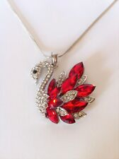 Gemstone encrusted swan pendant necklace