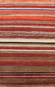Contemporary Gabbeh Striped Oriental Area Rug Wool Handmade Modern Carpet 6x9