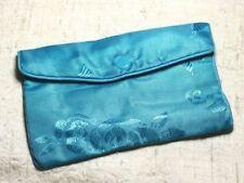 1pc - Sac Pochette Cadeaux Bijoux Tissu Fleurs 12x8cm Bleu Turquoise -  45585500