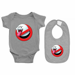 Baby Bodysuit Romper Clothes One Piece & Bib Gift Ghostbusters Mario Boo Ghost