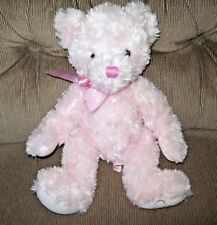 Russ Berrie FLORABELLE Teddy Bear Pink Pastel 13in Plush Hearts on Foot