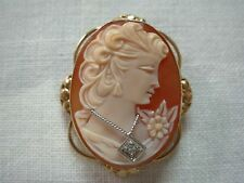 ANTIQUE 14K Y/G GOLD CARVED CAMEO BROOCH PIN PENDANT WITH PRETTY LADY & DIAMOND