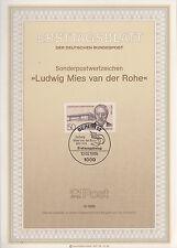 TIMBRE FDC ALLEMAGNE BERLIN OBL ERSTTAGSBLATT LUDWIG MIES VAN DER ROHE 1986