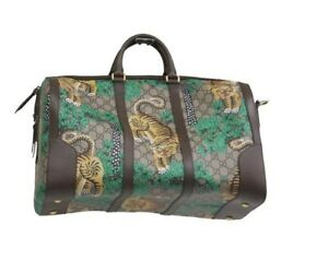 GUCCI authentic rare GG Supreme Bengal Tigers Canvas Duffle Bag