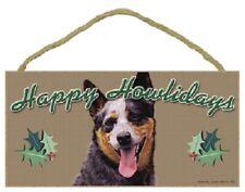 Australian Cattle Happy Howlidays Santa Wood Funny Christmas Dog Sign Plaque Usa