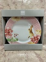 222 Fifth LEANNA Set of (4) EASTER Bunny Pink Polka Dot Dinner Plates NEW!