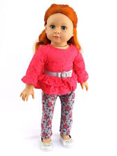 Coral Top & Rose Leggings Fits 18 Inch American Girl Doll Clothes 2 PC Set