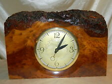 Vintage Mantle Clock Burl Wood Arts and Craft by Hand J.J.Thomas California Elec
