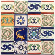 16 bunte Fliesen aus Mexiko, handbemalt, für Mosaik, 2. Wahl, je ca. 10x10cm