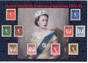 QEII NICE DISPLAY OF QUEEN ELIZABETH II 1952-55 MOROCCO AGENCIES MINT