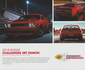2017 NHRA '18 Dodge Challenger SRT Demon Shell SEMA Show Promo info card