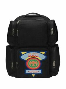 Gucci '80s logo Patch Black Nylon Large Backpack; NWT