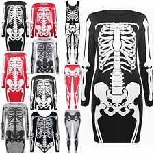 Womens Halloween Ladies Costume Skeleton Bone Long Dress Vest Jumpsuit Tee Pants