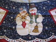 2 Yds Panels Vintage Snow Buddies Snowman Christmas Tree Skirt W/ Pockets Fabric