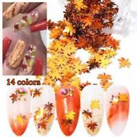 Autumn Maple Leaf Leaves Nail Art Glitter Shape Sequin Applique Manicure Tips