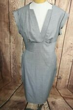 Ted Baker London Women's Wool Blend Sheath Dress Size 4 Gray Pockets
