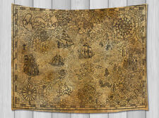 Pirate ship treasure map Tapestry Hippie Wall Hanging Living Room Bedroom Dorm